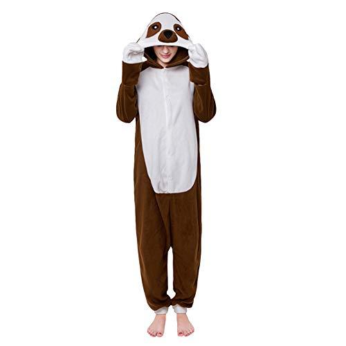 LSHEL Cosplay Jumpsuit Tier Cartoon Karneval Halloween Kostüm Fleece Overall Pyjamas Unisex Erwachsen Einteilige Pyjamas, Faultier, M(158-168cm)