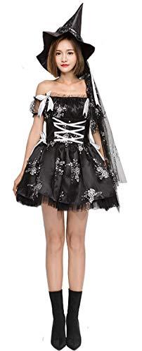 Bslingerie® Damen Hexe Dame Einteiliges Kled Kostüm Set (M, Schwarz)