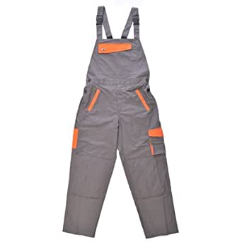 "Hymac Bib and Brace Overalls Work Wear Dungarees (Large Waist 36"" - 38"", Grey / Orange)"