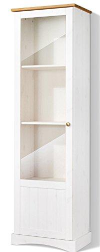 LifeStyleDesign 558562 Vitrine EMMA, 180 x 35 x 53 cm, kiefer, weiß honig