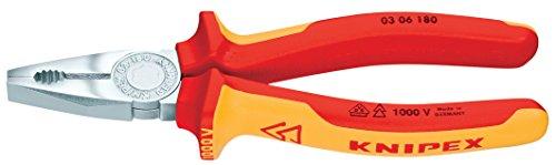 KNIPEX 03 06 180 SB Alicate universal cromado aislados con fundas en dos componentes, según norma VDE 180 mm