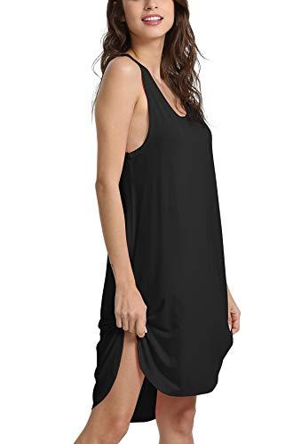 Suimiki Damen Sommer ärmelloses Nachthemd Bambusfaser Stoff komfortabel Pyjama Zuhause Kleid, Schwarz, XL - Sommer Nachthemd