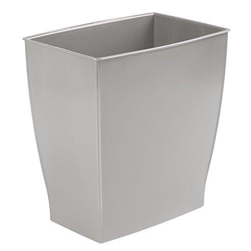 mDesign Mülleimer ohne Deckel – rechteckiger Abfallsammler für Bad, Büro und Küche – 28,5x19x30,5 – Papierkorb aus robustem Kunststoff – Fassungsvermögen ca. 8l – Grau