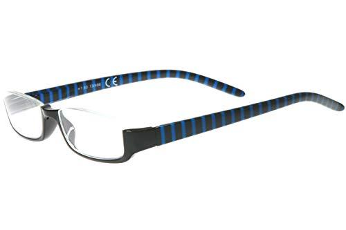 Lesebrille Damen Herren Halb-Rahmen Brille schwarz Ozean-blau gestreift rechteckige Gläser sehr leicht Lesehilfe-n Sehhilfe-n Lesebrillen 1.0 1.5 2.0 2.5 3.0 3.5, Dioptrien:Dioptrien 2.5