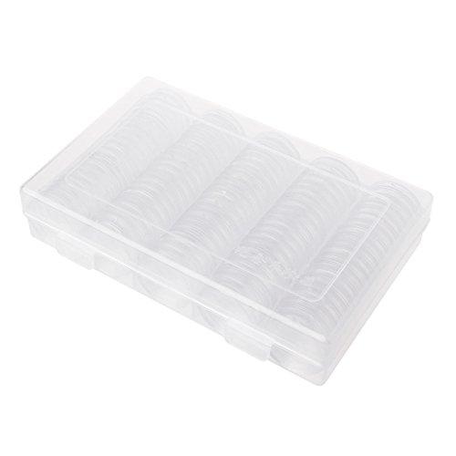 100monedas Soporte cápsulas 27mm Caja redonda plástico coleccionistas Memoria Organizador