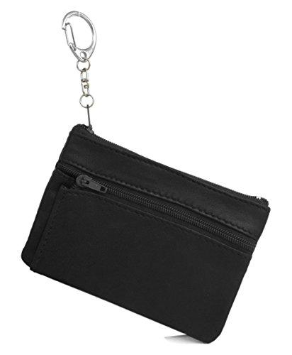 ATIPIX - Porte-Monnaie plat avec anneau porte-clés - Noir - Cuir véritable - Homme - Pour poches pantalon ou veste