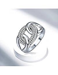 ELECTROPRIME Shiny Cubic Zirconia Interlocking Round Circle Rings Engagement Ring Lady Jewelry