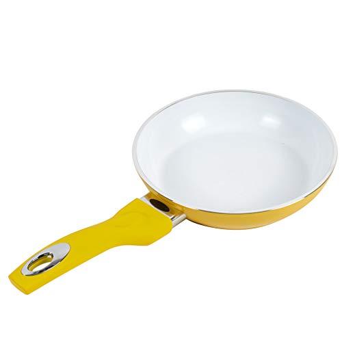 Pfanne mit Hitzeanzeige | Keramikpfanne antihaftbeschichtet | Ideal als Bratpfanne, Paella Pfanne, Wokpfanne | 20 cm gelb