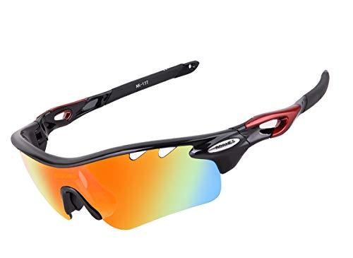 Winner Trip Sport Sonnenbrille, Fahrrad - Sonnenbrille mit 5 auswechselbare lenes Idee für männer Frauen Radfahren/Running/Fahren/Fischerei Brille (Glänzende Schwarze)