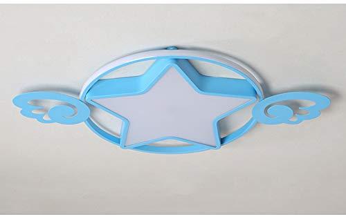 ckige Deckenleuchte im Sternenschatten für Kinderzimmer, LED Weiß + Warm + Neutral Licht 3 Farbsegmentierung (Durchmesser * 42 cm, 42 W) Schlafzimmerleuchte-Blue ()