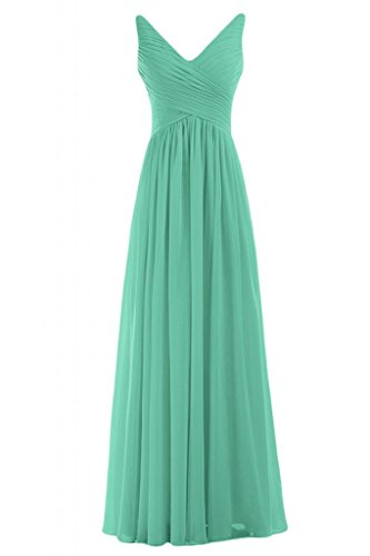 Sunvary Graceful lunghe da donna con scollo a V abito da sera Gowns-Costume da damigella d'onore per feste Hunter Green