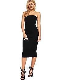 e45796700df16 WearAll Women's Plain Strapless Stretch Bodycon Bandeau Ladies Midi Boob  Tube Dress 8-14