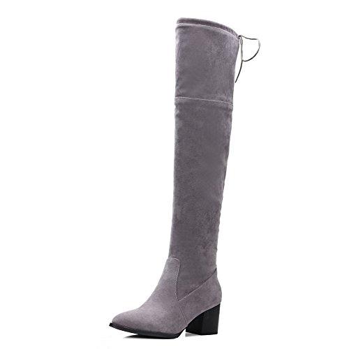 VogueZone009 Donna Allacciare Scarpe A Punta Tacco Medio Alta Altezza Stivali con Nodo Grigio