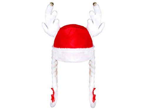 Größe Kostüm Plus Lustige - Alsino Weihnachtsmütze Nikolausmütze Weihnachtsmannmütze mit Elchgeweih und Zöpfen wm-83