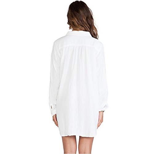 skyblue-uk en mousseline de soie pour femme col en V profond robe mousseline de soie T-shirt à manches longues Femme Blanc