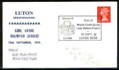 Great Britain 1970 Commemorative cover for Luton Girl Guide Diamond Jubilee with special illustrated 'Visit of Lady Baden-Powell' cancel SCOUTS GUIDES JandRStamps