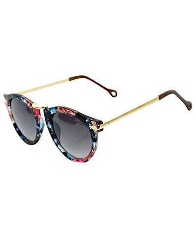 MissFox Gafas de Sol Moda Vintage para Mujer y Hombre Gafas Lente Ronda UV400 Sunglasses Floral retro