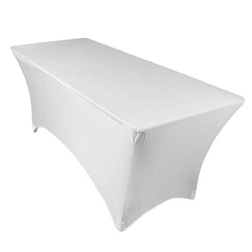 URBY Abdeckung Spandex Spannbettlaken dehnbar Tischdecke Tisch, rechteckig, Spandex, weiß, 122 cm