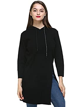 Vogueearth Fashion Mujer's Hooded Largo Knit Jumper Jersey Sudaderas Suéter Pull-over Pullover Top
