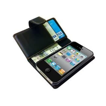 New High Quality Black Wallet Leather Case for iPhone 4 4s 4 s with Card Holder + Screen Protector