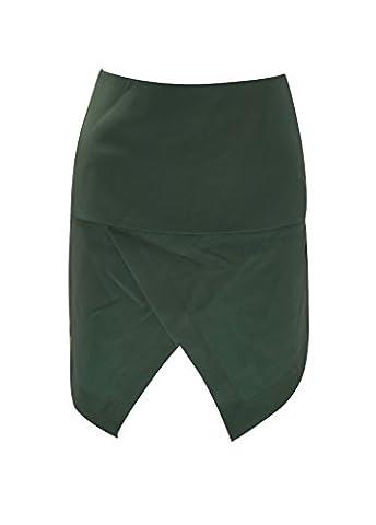 Womens Short Asymmetric Zip Colour Block Mini Skirt