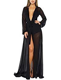 Viottiset Damen Strandkleid Bikini Cover Up mit Lange Ärmel Sommer Bademode Strand Shirt
