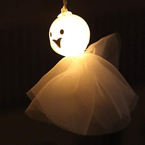 YRE Halloween Dekorative Lichter LED Sonnige Puppe Akku-Lampe Girl Ghost Dekorieren Laterne Weihnachtsbeleuchtung,Warmwhite