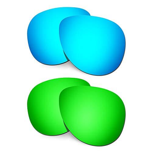 HKUCO Verstärken Ersatz-Brillengläser für Oakley Elmont (Large) Blau/Grün Sonnenbrille