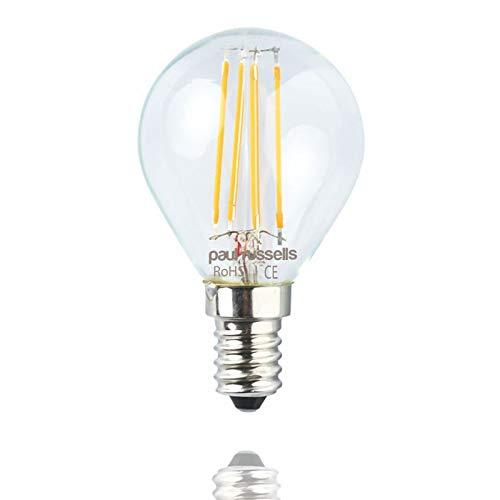 Paul Russels Lot de 34W = 40W Golf LED Ampoules à filament E14Culot à vis 4W Petit Globe...