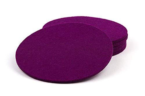 NordernArt Filz Untersetzer rund 10cm 100% Wollfilz 6er Set Farbe wählbar, natur edel Getränkeuntersetzer für Gläser, Tassen auf Tisch, Bar ( lila )