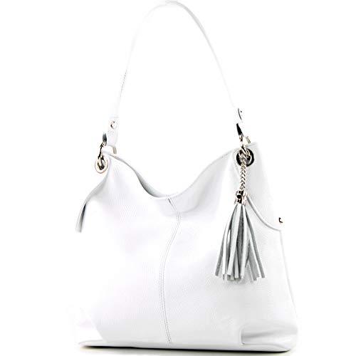 modamoda de - T185 - ital. Damen Schultertasche aus Leder, Farbe:Weiß Damen Weiß Leder