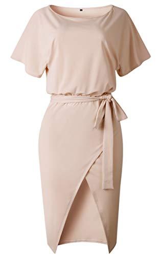 309da6be934bff Angashion Damen Kleid Kurzarm Rundhalsausschnitt Midikleid Schlitz Partykleid  Abendkleid mit Gürtel.