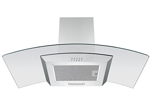 31zN%2BXmCsnL - Cookology CGL900SS 90cm Curved Glass Chimney Cooker Hood in Stainless Steel | Wall Mounted Extractor Fan