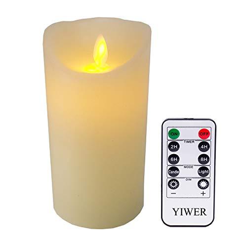 LED Kerzen,Flammenlose Kerzen 6inch aus1 Echtwachs Säulen nicht Plastik mit realistischen tanzenden LED Flammen und 10-Tasten Fernbedienung mit 2/4/6/8-StundenTimer,300+ StundenYIWER (Elfenbein, 1×1) (Flammenlose Kerzen Säule)