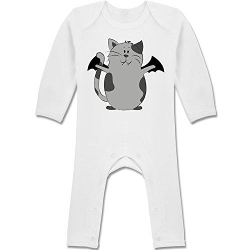 Anlässe Baby - Katze Halloween - 3-6 Monate - Weiß - BZ13 - Langarm Baby-Strampler / Schlafanzug für Jungen und (Halloween 3 Sache Kostüm)