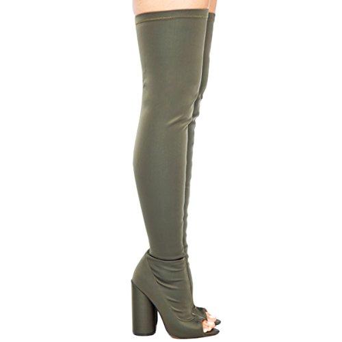 Frauen Peep Toe Chunky High Heel ¨¹ber dem Knie Zip-on Lycra Stiefel Grau