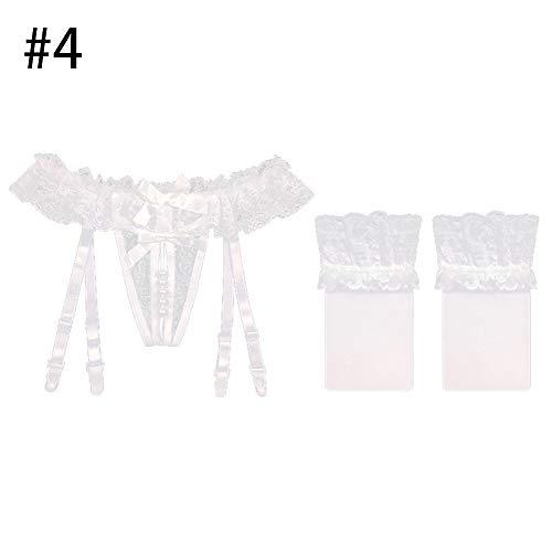 mAjglgE G-String Strümpfe Frauen Faux Pearl Open Crotch Bow Lace Strumpfband String String Unterwäsche mit Strümpfen 4#