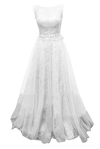 Gorgeous BrideModern A-Linie Rundkragen Lang Satin Tüll Spitze Schleppe Abendkleider Lang Festkleider Ballkleider Weiß