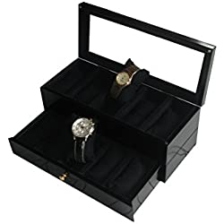 SLK Wooden Handcrafted Luxury Watch Box (10 Watches, Black)