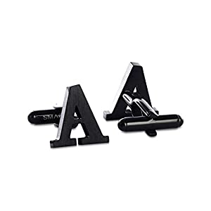 SMARTEON | Premium Manschettenknöpfe A-Z Buchstaben für Herren | Initialen aus hochwertigem Edelstahl in silber & schwarz | Elegante Cufflinks in exklusiver Schmuckschachtel | Tolles Männer-Geschenk