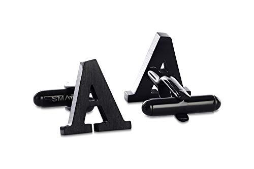 SMARTEON® Manschettenknöpfe für Herren | Premium Buchstaben A-Z | Silber & Schwarz aus hochwertigem Edelstahl in mattem Design | Elegante Cufflinks in einem edlen Geschenk-Set (A - schwarz)