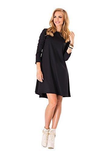 Futuro Fashion Damen Cocktail A-linie kleid Mit Reißverschluss Langärmlig FA323 Schwarz
