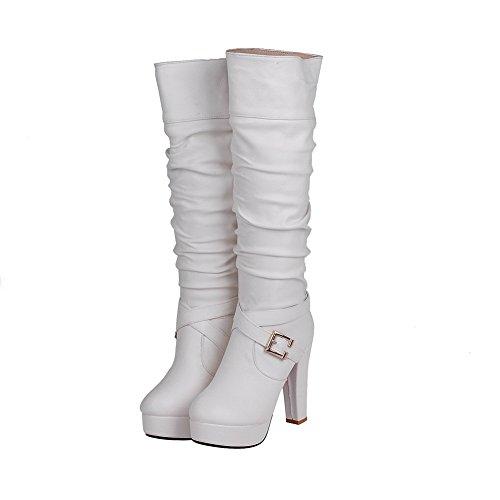 AllhqFashion Damen Blend-Materialien Ziehen Auf Rund Zehe Hoher Absatz Knie Hohe Stiefel Weiß