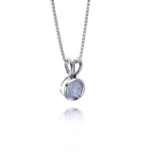 MATERIA Anhänger rund mit Halskette 925 Silber mit Swarovski Elements opal weiß wählbar inkl. Box #SWC-2, Farbe:Opal