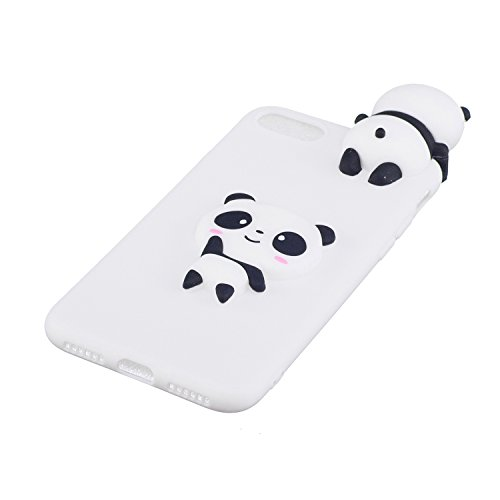 Coque pour iPhone 7 , Etui iPhone 8 , Transparente TPU Case Silicone Slim Souple Étui de Protection Flexible Soft Cover avec Charmant Fruit Motif Coloré Anti Choc Ultra Mince Integrale Couverture Bump Panda Blanc