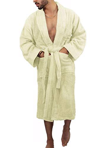 Islander Fashions Mens Fancy 620 GSM 100% �gyptischer Baumwolle Badem�ntel Erwachsene Frottee Dressing Gown Creme One Size