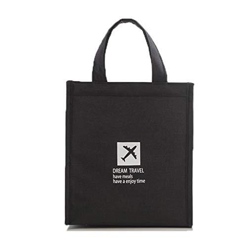 XLanY wasserdichte Lunchpaket, Lunchpaket Tasche Verpackt Verpackt Eisbeutel Tragbar Für Kinder Lebensmittel Tasche Isolierte Lunchpaket Reiseveranstalter Eisbeutel Kühlbox,Schwarz,Large -