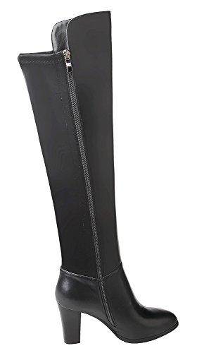 Guoar High Heels Damenstiefel Große Größe Spitze Zehen Nieten Knie Hoch Stiefel mit Dick Absatz Ballsaal Party Club Schwarz