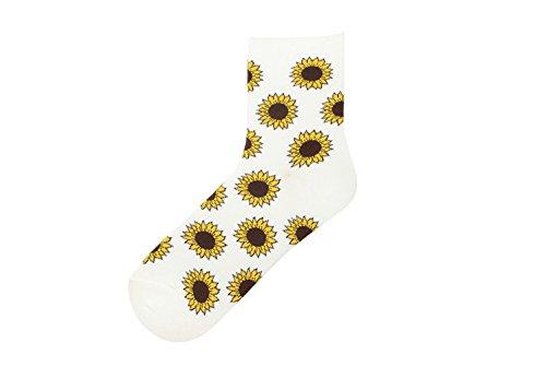 KnöChel-Jungen-MäDchen-WeißE Baumwolle Spaß-Lustige Neuheit Jugend Funky Nette Blumen-Sonnenblume Socken Socks (Socken Womens Quartal)