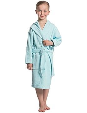 ZOLLNER® Albornoz para niños de 4 a 7 años / albornoz infantil / albornoz de baño con capucha, talla 4/7 algodón...